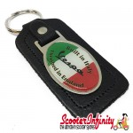 Key ring chain - Vespa Italian Flag (With Slogan, Black)