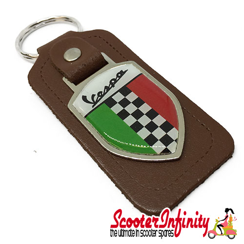 Key ring chain - Vespa Italian Flag Check (Brown)