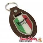 Key ring chain - Vespa GTS 300 Italian Flag (Brown)