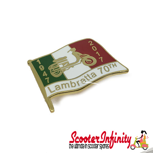 Pin Badge - Lambretta Flag 1947 - 2017 (Black)