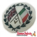 Badge Sticker Domed - Union Jack Italian Crossed Flags (75mm, 75mm)