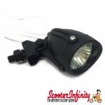 Spotlamp Spotlight (Universal Fitting) (outer 40mm, Ø lens 30mm) (12V/20W) (Matt Black) (Vespa / Lambretta)