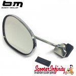 Mirror Clamp On LEFT Hand (140 x 95mm) (Universal Scooter Fitting) (BUMM) (Chrome) (Vespa / Lambretta)
