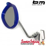 Mirror Clamp On LEFT Hand (Universal Scooter Fitting) (BUMM) (Blue / White) (Vespa / Lambretta)