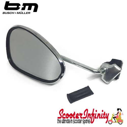Mirror Clamp On LEFT Hand (120 x 70mm) (Universal Scooter Fitting) (BUMM) (Chrome) (Vespa / Lambretta)