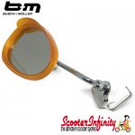 Mirror Clamp On LEFT Hand (Universal Scooter Fitting) (BUMM) (Orange / White) (Vespa / Lambretta)