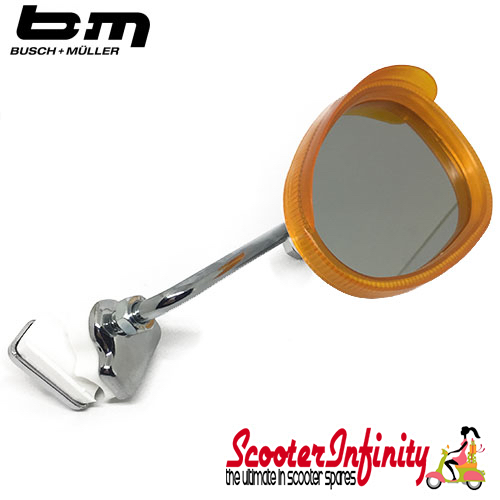Mirror Clamp On RIGHT Hand (Universal Scooter Fitting) (BUMM) (Orange / White) (Vespa / Lambretta)