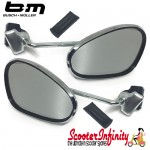 Mirror Clamp On LEFT & RIGHT Hand (2 Mirrors) (120 x 70mm) (Universal Scooter Fitting) (BUMM) (Chrome) (Vespa / Lambretta)