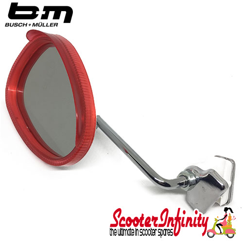 Mirror Clamp On LEFT Hand (Universal Scooter Fitting) (BUMM) (Red / White) (Vespa / Lambretta)