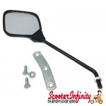 Mirror Standard Right OR Left CUPPINI (square, 125x115, M10 mm  black, stem length 185mm) (Vespa  all Classic models)