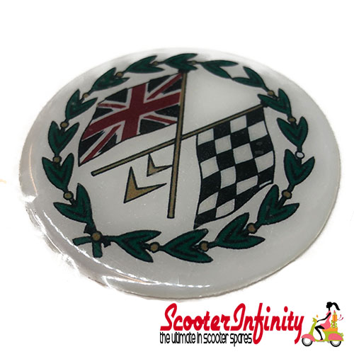 Badge Sticker Domed - Union Jack Check Crossed Flags (75mm, 75mm)