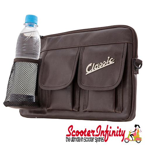 "Bag Glovebox Toolbox ""Classic"" (SIP) (Brown Faux Leather) (Fits around glovebox door) (Classic Vespa, Modern Vespa)"