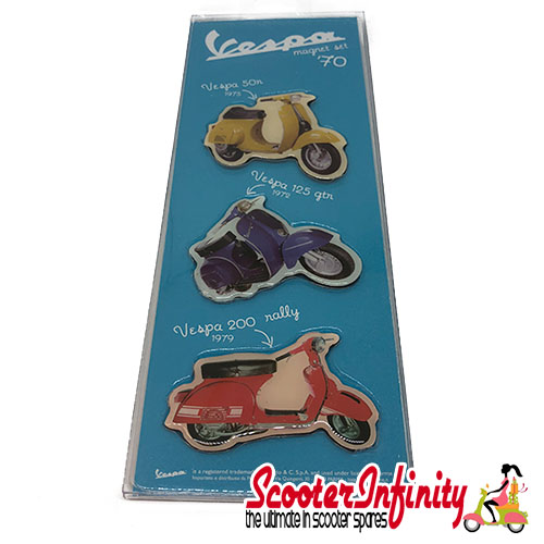 Magnet Set (Fridge Magnet) FORME Vespa The Seventies 70s (Set of 3 - 60mm, 50mm per magnet)