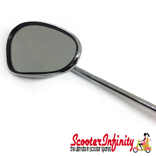 Mirror Standard BUMM left (kidney shape, 100x75 mm  chrome,  stem length 280mm) (All Classic Vespa Models) (Vespa PX, T5 Classic)