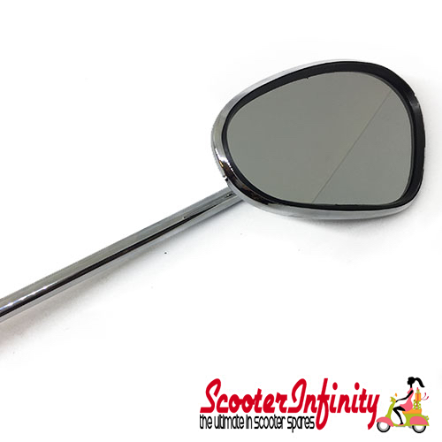Mirror Standard BUMM right (kidney shape, 100x75 mm  chrome,  stem length 280mm) (All Classic Vespa Models) (Vespa PX (NOT DISC), T5 Classic)
