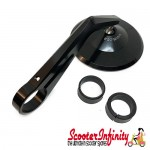 Mirror Handlebar End MONTANA (1 piece, right or left, round,  black, aluminium) (Vespa  ET/LX/LXV/S/GTS/GTS Super/GTV /GT 60/GT/GT L)