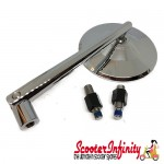 Mirror MONTANA (1 piece, right or left, square, chrome) (Vespa ET/LX/LXV/S/GTS/GTS Super/GTV /GT 60/GT/GT L)
