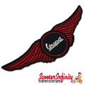 Patch Clothing Sew On - Vespa Logo on Red Wings (140mm, 40mm)