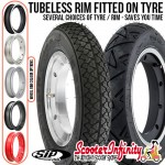 PACKAGE: Wheel Rim Tubeless SIP fitted onto your Choice of Tyre (Select Your Options) (Tyre: 3.50x10 - Rim: 2.10x10) (Vespa)