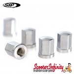 Nut Hexagonal SET of 5 (For SIP Tubeless Rim) (Silver Nuts) (Vespa)