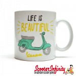 Mug / Cup - Vespa (White, Life is Beautiful)