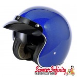 Helmet / MOD Vcan V537 (Open Face - Blue Flake - With Popdown Sunvisor)