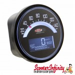 SIP Digital Speedo / Rev Counter *NEW V2.0* (Black Face) (Lambretta LI 125/150 1°/2°/TV 175 1°)