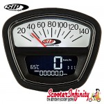 SIP Digital Speedo / Rev Counter *NEW V2.0* (Black/White Face) (Lambretta DL, GP, LI, SX, TV)