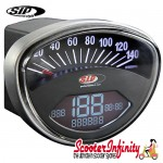 SIP Digital Speedo / Rev Counter *NEW V2.0* (Black Face) (Vespa 50 SS/90 SS/125 /PV/ET3/GTR/TS/Super/150 Sprint V/Super/Rally)