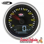 SIP Digital Speedo / Rev Counter *NEW V2.0* (Black Face) (Vespa P80-150X/PX80 -200E/Lusso 1°/P150S/P200E)