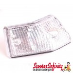 Indicator Rear L/S STELLA (clear, chrome surround) (Vespa PX80-200/PE/Lusso/T5)