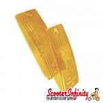 Indicator Lens Kit PIAGGIO (Front, Amber, Pair) (Vespa  PX80-200/PE/Lusso/T5)