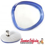 Mirror Head LEFT Hand (Scooter) (for 7mm Stem) (BUMM) (Blue / White) (Vespa / Lambretta)
