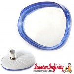 Mirror Head RIGHT Hand (Scooter) (for 7mm Stem) (BUMM) (Blue / White) (Vespa / Lambretta)