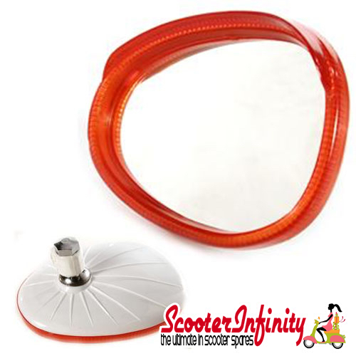 Mirror Head RIGHT Hand (Scooter) (for 7mm Stem) (BUMM) (Red / White) (Vespa / Lambretta)