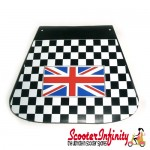 Mudflap Black & White Check Chequered (British Flag Union Jack Emblem) (Universal Fitment)