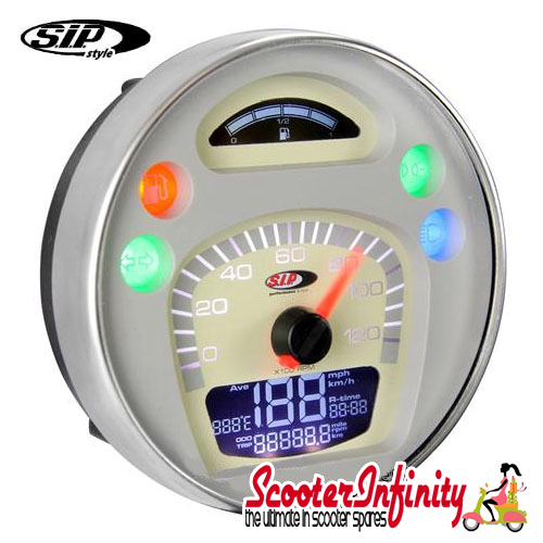 SIP Digital Speedo / Rev Counter *NEW V2.0* (White/Beige Face) (Vespa PX/MY/T5 Classic)
