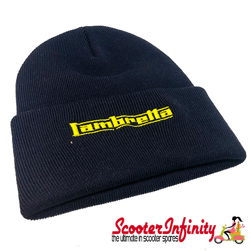 Beanie Hat Lambretta (Navy Blue, Yellow Logo)