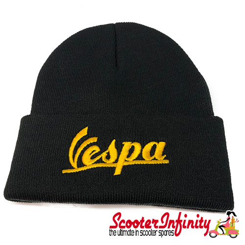 Beanie Hat Vespa (Black, Gold Yellow Logo)