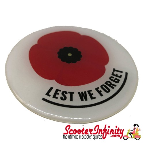 "Badge Sticker Domed - Poppy Remembrance Day ""Lest We Forget"" (75mm, 75mm)"