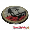 "Badge Sticker Domed - Poppy Solider Remembrance Day ""Lest We Forget"" (75mm, 75mm)"