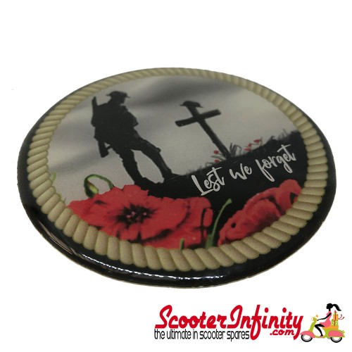"""Badge Sticker Domed - Poppy Solider Remembrance Day """"Lest We Forget"""" (75mm, 75mm)"""