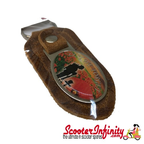 """Key ring chain - Poppy Soldier Remembrance Day """"Lest We Forget"""" (Retro, Oval)"""