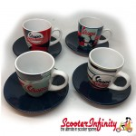 Espresso Coffee Cup Set VESPA (Blue Red White) (Genuine Piaggio) (4 Parts with Gift Box)