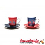 Espresso Coffee Cup Set VESPA Red / Blue (Genuine Piaggio) (2 Parts with Gift Box)