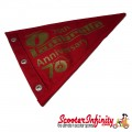 Flag Penant Lambretta Innocenti 70th Anniversary (Red, Red Trim) (240x170mm) (With Eye Holes, for Whip Aerial)