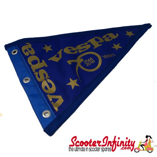 Flag Penant Vespa 70th Anniversary 1946 - 2016 (Blue, Blue Trim) (260x190mm) (With Eye Holes, for Whip Aerial)
