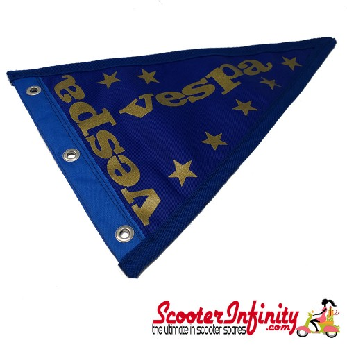 Flag Penant Vespa PX (Blue, Blue Trim) (240x170mm) (With Eye Holes, for Whip Aerial)