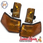 Indicator Kit PIAGGIO SIEM (yellow amber orange, front & rear, w/o bulbs) (Vespa PX80-200/PE/Lusso/T5)