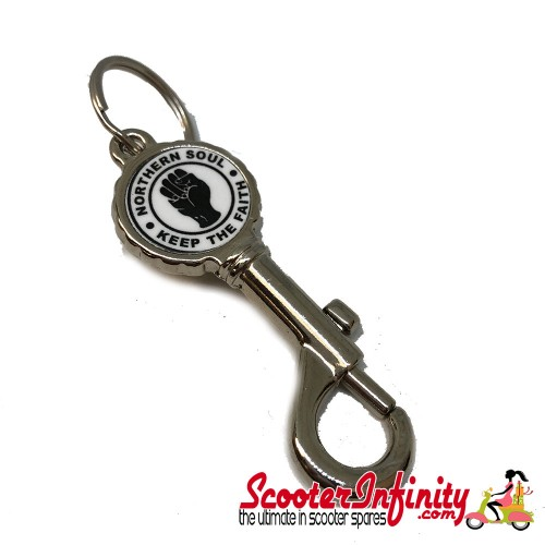 """Key ring chain - Northern Soul """"Keep The Faith"""" Bottle Opener V1 (Silver)"""